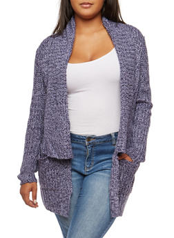 Plus Size Two Tone Knit Open Front Cardigan - 3920015056600