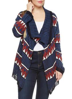 Plus Size Mixed Aztec Knit Sweater Cardigan with Shawl Collar,NAVY,medium