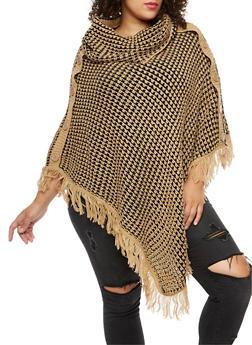 Plus Size Cowl Neck Fringe Poncho - 3920038340082