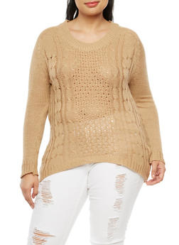 Plus Size Crew Neck Knit Sweater - 3920038340120