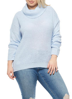 Plus Size Long Sleeve Cowl Neck Sweater - 3920038340124