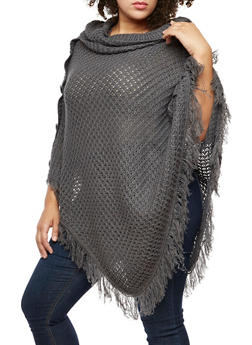 Plus Size Button Fringe Poncho - GRAY - 3920038340180