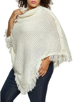 Plus Size Button Fringe Poncho - IVORY - 3920038340180