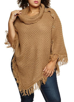 Plus Size Button Fringe Poncho - TAN - 3920038340180