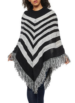 Plus Size Stripe Fringe Poncho - BLACK - 3920038340188