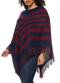 Plus Size Stripe Fringe Poncho - NAVY - 3920038340188