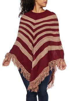Plus Size Stripe Fringe Poncho - BURGUNDY - 3920038340188