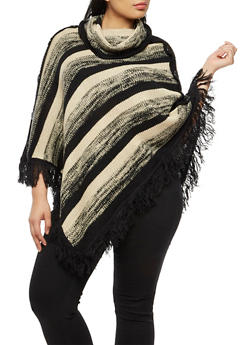 Plus Size Striped Knit Poncho - BLACK - 3920038340195