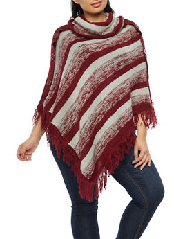 Plus Size Striped Knit Poncho - 3920038340195