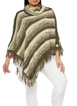 Plus Size Striped Knit Poncho - OLIVE - 3920038340195
