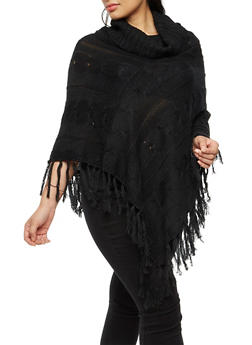 Plus Size Fringe Poncho - BLACK - 3920038340197