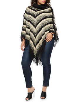 Plus Size Cowl Neck Striped Poncho - BLACK - 3920038340199