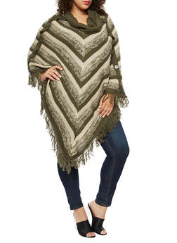 Plus Size Cowl Neck Striped Poncho - OLIVE - 3920038340199
