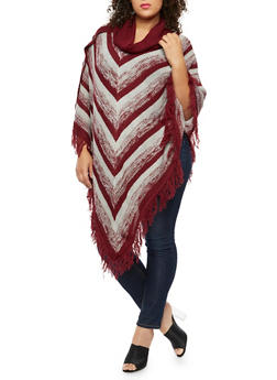 Plus Size Cowl Neck Striped Poncho - BURGUNDY - 3920038340199
