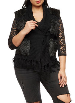 Plus Size Faux Fur Sweater Vest - 3920038340227
