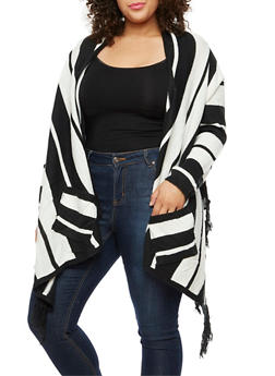 Plus Size Open Front Cardigan with Fringe - 3920038340232