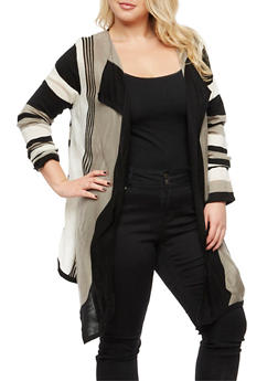 Plus Size Striped Open Front Sweater - 3920038340426