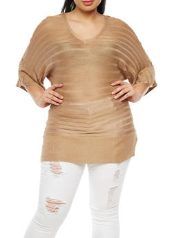 Plus Size Dolman Sleeve Sweater - 3920038340433