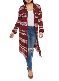 Plus Size Striped Hooded Duster - 3920038341728