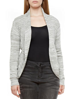 Plus Size Ribbed Sweater Knit Cardigan with Open Front,GRAY,medium