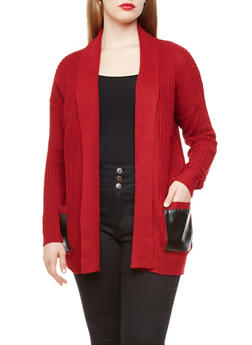 Plus Size Cable Knit Sweater Cardigan with Faux Leather Pockets,CRANBERRY,medium