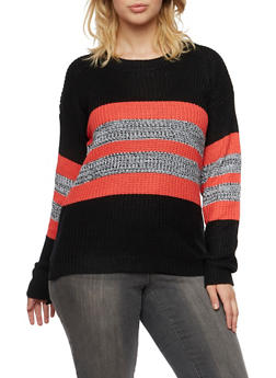 Plus Size Striped Sweater with Side Slits - 3920038346105