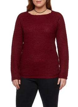 Plus Size Crew Neck Sweater with Popcorn Knit - 3920038346109