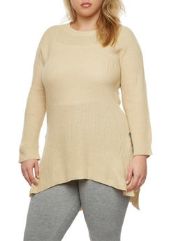 Plus Size Sweater with Side Slits - 3920038346113