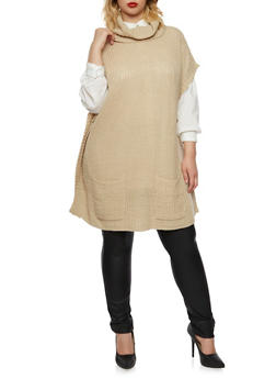 Plus Size Tunic Sweater with Cowl Neck - 3920038346119