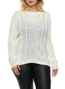 Plus Size Cable Knit Sweater with Crew Neck - IVORY - 3920038346120