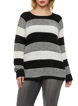 Plus Size Striped Sweater with Cuffed Sleeves - 3920038346121