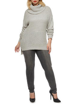 Plus Size Sweater with Cowl Neck - 3920038346124