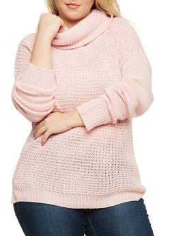 Plus Size Sweater with Cowl Neck - PINK - 3920038346124