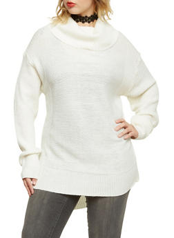 Plus Size Cowl Neck Sweater - IVORY - 3920038346126