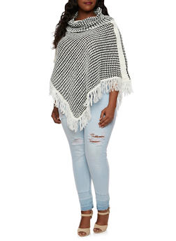 Plus Size Dual Color Poncho with Fringe Hem - 3920038346182