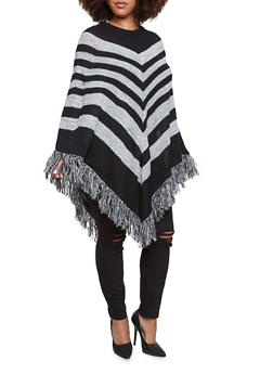 Plus Size Striped Poncho with Fringe Hem - 3920038346188