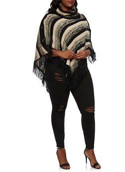 Plus Size Striped Poncho with Fringe Hem - 3920038346195