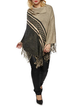 Plus Size Knit Poncho with Fringe Trim - 3920038346196