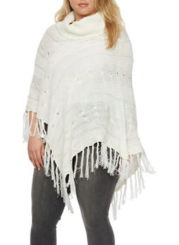 Plus Size Cable Knit Poncho with Cowl Neck - 3920038346197