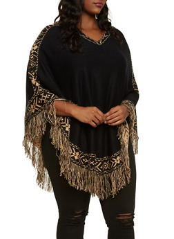 Plus Size Fringe Poncho with Aztec Print Trim - 3920038346198