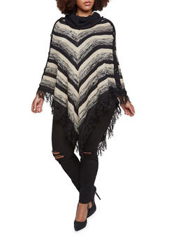 Plus Size Striped Poncho with Fringe Hem - 3920038346199