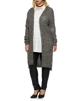 Plus Size Open Cardigan in Marled Waffle Knit - 3920038346204