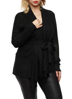 Plus Size Shawl Cardigan with Belt - 3920038346207