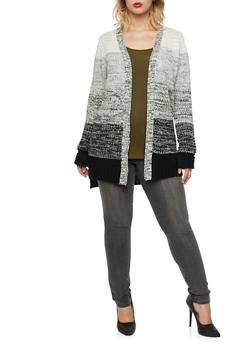 Plus Size Cardigan in Marled Knit - 3920038346209
