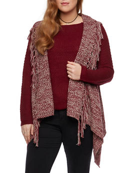 Plus Size Fringe Knit Vest with Open Front - BURGUNDY - 3920038346210