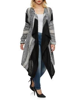 Plus Size Open Front Cardigan with Sharkbite Hem - 3920038346223