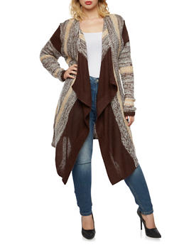 Plus Size Open Front Cardigan with Sharkbite Hem - 3920038346223