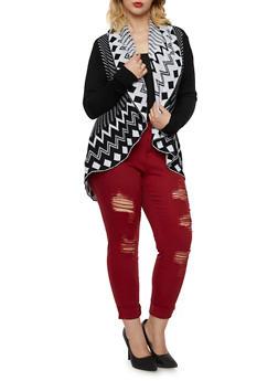 Plus Size Shawl Collar Cardigan with Chevron Print - 3920038346226