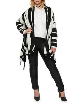 Plus Size Striped Open Cardigan with Fringe - BLACK/WHITE - 3920038346232