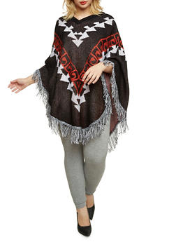 Plus Size Knit Poncho with Fringe Trim - 3920038346264